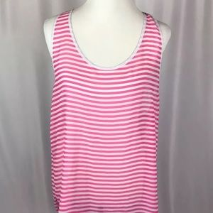 Pink Oversized Striped Sheer Tank Swim Cover Up